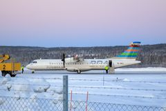 BRA Braathens Regional Airlines ATR 72-600. Parked in the snow at Sundsvall airport in Sweden stock images