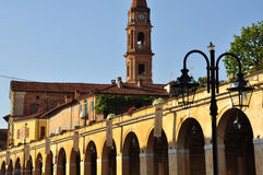 Bra, Cuneo. arcades and church. Stock Images