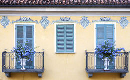 Bra (Cuneo): old decorated palace facade. Color image Stock Photography