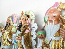 Bra förmögenhet för tre kinesiska lyckliga gudar Fu, Hok, välstånd Lu, Lok och livslängd Shou, Siu Royaltyfri Bild