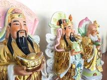 Bra förmögenhet för tre kinesiska lyckliga gudar Fu, Hok, välstånd Lu, Lok och livslängd Shou, Siu Fotografering för Bildbyråer