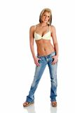 Bra fashion. Model poses wearing jeans and a bra Stock Photo