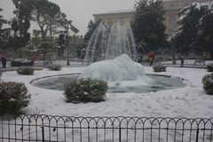 Bra fountain under snow, Verona city in Italy Royalty Free Stock Photos