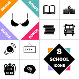 Bra computer symbol. Bra Icon and Set Perfect Back to School pictogram. Contains such Icons as Schoolbook, School  Building, School Bus, Textbooks, Bell Stock Images