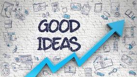 Bra idéer som dras på den vita väggen Arkivbilder