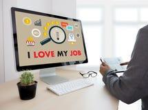 Bra Job Assistant ÄLSKAR JAG MIN JOB Businessman och affärskvinna Royaltyfria Bilder
