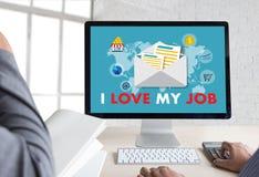 Bra Job Assistant ÄLSKAR JAG MIN JOB Businessman och affärskvinna Arkivfoto