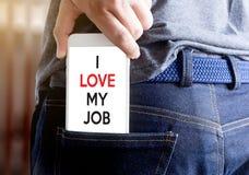 Bra Job Assistant ÄLSKAR JAG MIN JOB Businessman och affärskvinna Royaltyfri Bild