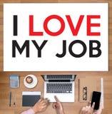 Bra Job Assistant ÄLSKAR JAG MIN JOB Businessman och affärskvinna Fotografering för Bildbyråer