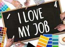 Bra Job Assistant ÄLSKAR JAG MITT JOBB, mig älskar mitt jobb på anmärkningen, Bu Royaltyfri Fotografi