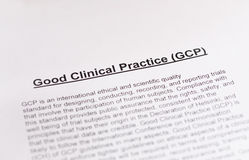 Bra klinisk övning. GCP. Royaltyfri Fotografi