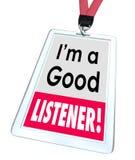 Bra kundtjänst för etikett för namn för lyssnareanställdemblem royaltyfri illustrationer
