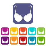 Bra lingerie icons set flat Stock Photo