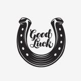 Bra lycka Hästsko med inskriften Vektorsymbol eller symbol Fotografering för Bildbyråer