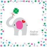 Bra lycka med elefant- och växt av släktet Trifoliumvektorhälsning Royaltyfria Bilder