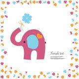 Bra lycka med vektorn för rosa elefant och växt av släktet Trifolium Arkivfoton