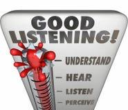 Bra lyssnande kvarhållande för information om termometermått Arkivbilder