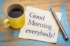 Bra morgon alla - servetttext Fotografering för Bildbyråer