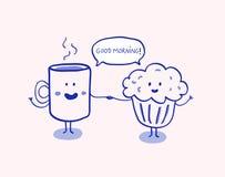Bra morgon, kopp kaffe och muffin Vektor Illustrationer