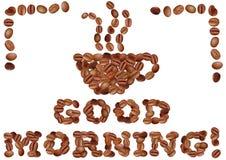 Bra morgon med kaffe vektor illustrationer