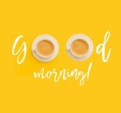 Bra morgon med koppar kaffe Royaltyfri Fotografi