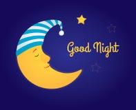 Bra natt för måne och för stjärnor Arkivfoto