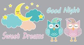 Bra natt och gullig uppsättning för söta drömmar av klistermärkear med att sova ugglor, moln, månen och stjärnor också vektor för vektor illustrationer