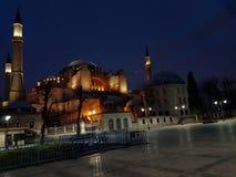 Bra nigth Hagia Sophia arkivbilder