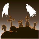 Bra och ondskan är spökskrivare att sväva i kyrkogården stock illustrationer