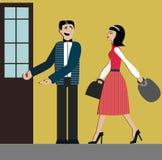 Bra sätt mannen öppnar dörren för kvinna etikett anständighet bakgrund som isoleras över shoppingwhitekvinna elegant klänning och Royaltyfri Foto