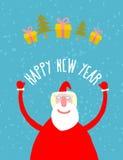 Bra Santa Claus med gåvor Farfar med ett vitt skägg i r vektor illustrationer
