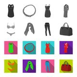 Bra with shorts, a women`s scarf, leggings, a bag with handles. Women`s clothing set collection icons in monochrome,flat. Style vector symbol stock illustration Stock Image