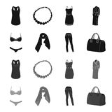Bra with shorts, a women scarf, leggings, a bag with handles. Women clothing set collection icons in black,monochrome. Style vector symbol stock illustration Stock Photos