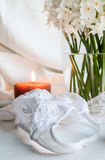 Bra, thong and lingerie with white flowers Royalty Free Stock Photos
