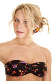 Bra top black flowers Royalty Free Stock Images