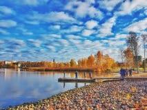 Brać w miasta jeziorze Obrazy Royalty Free
