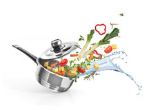 Braadpan met groenten royalty-vrije stock afbeelding