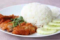 Braadstukkip met rijst Royalty-vrije Stock Foto's