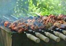 braadstukvlees op vleespennen op open brand Royalty-vrije Stock Foto