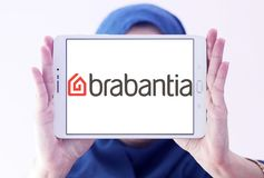 Brabantia company logo. Logo of Brabantia company on samsung tablet holded by arab muslim woman. Brabantia is a privately owned Dutch company which manufactures stock image