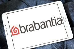 Brabantia company logo. Logo of Brabantia company on samsung tablet. Brabantia is a privately owned Dutch company which manufactures items for the home such as royalty free stock image