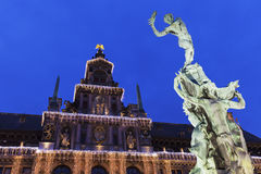 Brabo Fountain on Grote Markt in Antwerp Stock Image