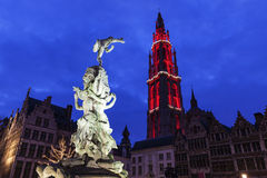 Brabo Fountain on Grote Markt in Antwerp Stock Photo
