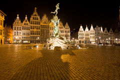 Brabo Statue Antwerp Grote Markt Night Royalty Free Stock Images