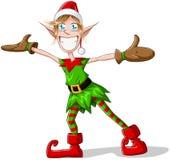 Braccia di diffusione e sorridere dell'elfo di natale Fotografie Stock Libere da Diritti