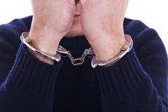 Braccia sul fronte, con manette sulle mani Immagine Stock Libera da Diritti