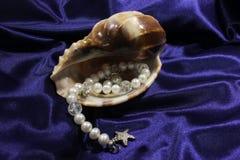 Braccialetto d'acqua dolce bianco della perla e grande conchiglia su fondo blu fotografia stock libera da diritti
