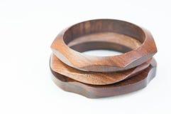 Braccialetto di legno isolato Fotografia Stock