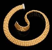 Braccialetto dorato con i diamanti Fotografia Stock