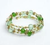 Braccialetto verde con crystall Immagine Stock Libera da Diritti